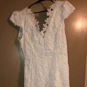 F21 EUC White Lace Overlay Dress Size L